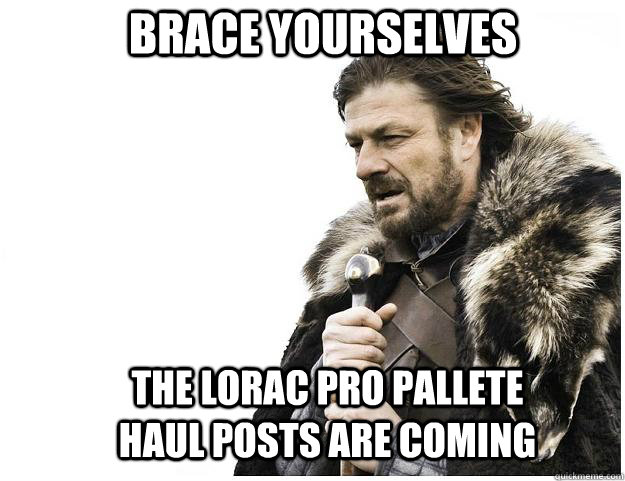 Brace yourselves The Lorac Pro Pallete Haul Posts are coming - Brace yourselves The Lorac Pro Pallete Haul Posts are coming  Imminent Ned
