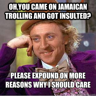 Oh,you came on Jamaican trolling and got insulted? Please expound on more reasons why I should care - Oh,you came on Jamaican trolling and got insulted? Please expound on more reasons why I should care  Condescending Wonka
