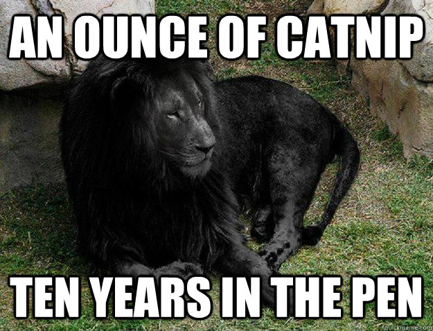 an ounce of catnip ten years in the pen - an ounce of catnip ten years in the pen  Black Lion Problems