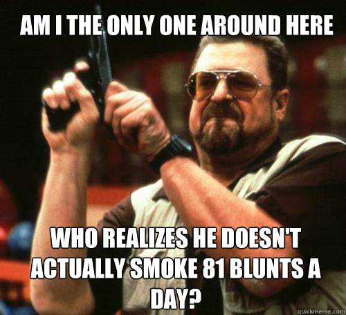 AM I THE ONLY ONE AROUND HERE Who realizes he doesn't actually smoke 81 blunts a day? - AM I THE ONLY ONE AROUND HERE Who realizes he doesn't actually smoke 81 blunts a day?  Misc