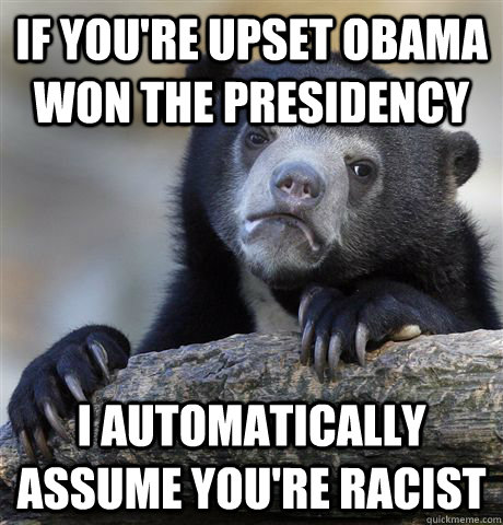 if you're upset obama won the presidency  i automatically assume you're racist - if you're upset obama won the presidency  i automatically assume you're racist  Confession Bear