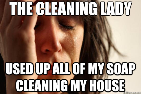 THe cleaning lady Used up all of my soap cleaning my house - THe cleaning lady Used up all of my soap cleaning my house  FirstWorldProblems