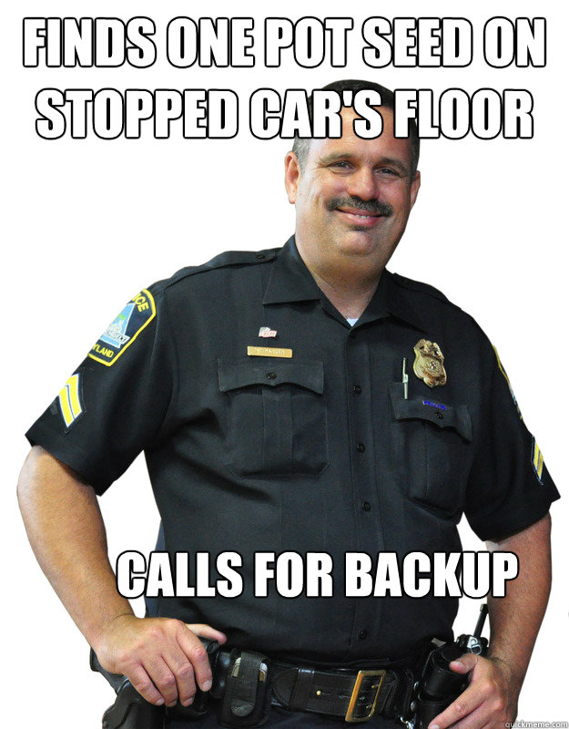 Finds one pot seed on stopped car's floor Calls for backup - Finds one pot seed on stopped car's floor Calls for backup  Good Guy Cop