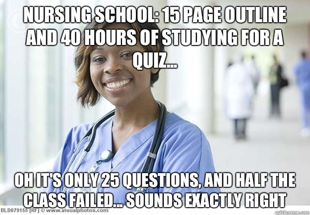 Nursing school: 15 page outline and 40 hours of studying for a quiz... Oh it's only 25 questions, and half the class failed... Sounds exactly right  Nursing Student