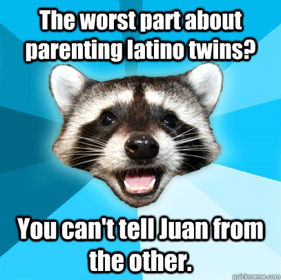 The worst part about parenting latino twins? You can't tell Juan from the other.  - The worst part about parenting latino twins? You can't tell Juan from the other.   Lame Pun Coon