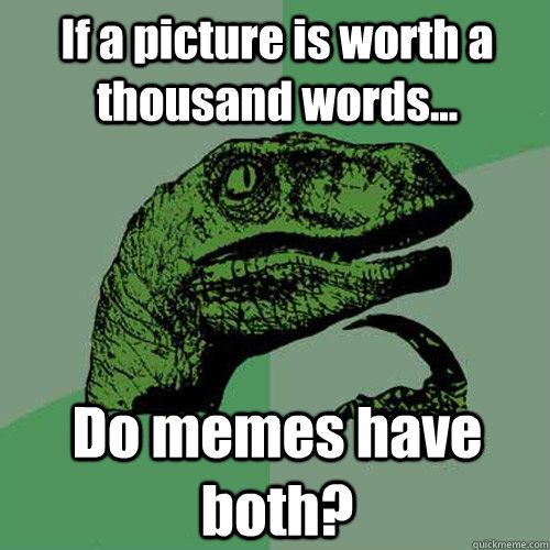 If a picture is worth a thousand words... Do memes have both? - If a picture is worth a thousand words... Do memes have both?  Philosoraptor