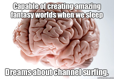 Capable of creating amazing fantasy worlds when we sleep Dreams about channel surfing.   - Capable of creating amazing fantasy worlds when we sleep Dreams about channel surfing.    Scumbag Brain