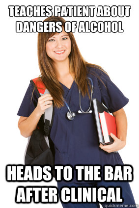 teaches patient about dangers of alcohol Heads to the bar after clinical
