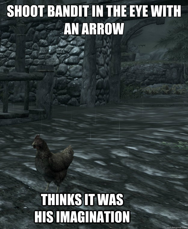 Shoot Bandit in the eye with an Arrow   Thinks it was his imagination - Shoot Bandit in the eye with an Arrow   Thinks it was his imagination  Skyrim Logic
