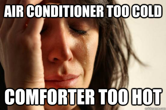 Air Conditioner too cold comforter too hot - Air Conditioner too cold comforter too hot  First World Problems