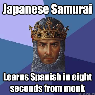 Japanese Samurai Learns Spanish in eight seconds from monk