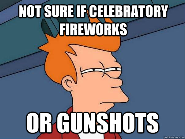 Not sure if celebratory fireworks Or gunshots  - Not sure if celebratory fireworks Or gunshots   Futurama Fry