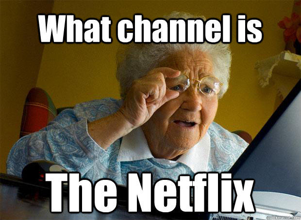 What channel is The Netflix   Caption 5 goes here  Grandma finds the Internet