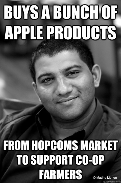 Buys a bunch of apple Products From Hopcoms market to support co-op farmers