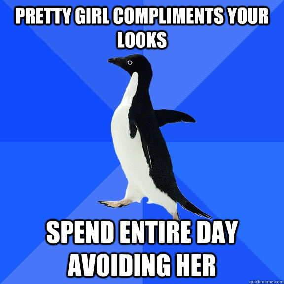 Pretty girl compliments your looks Spend entire day avoiding her - Pretty girl compliments your looks Spend entire day avoiding her  Socially Awkward Penguin