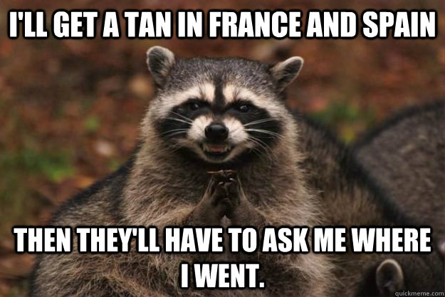 I'll get a tan in France and Spain Then they'll have to ask me where I went. - I'll get a tan in France and Spain Then they'll have to ask me where I went.  Evil Plotting Raccoon