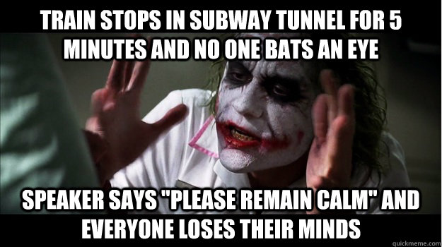 train stops in subway tunnel for 5 minutes and no one bats an eye speaker says