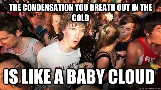 The condensation you breath out in the cold is like a baby cloud - The condensation you breath out in the cold is like a baby cloud  Sudden Clarity Clarence