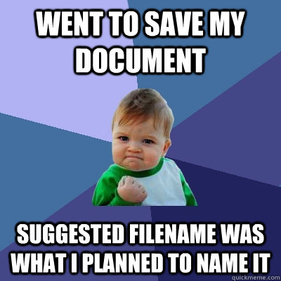 Went to save my document suggested filename was what I planned to name it - Went to save my document suggested filename was what I planned to name it  Success Kid