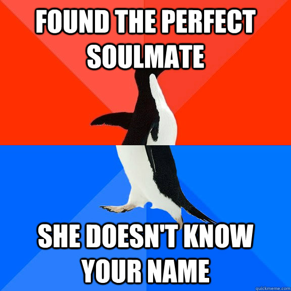 Found the perfect soulmate She doesn't know your name - Found the perfect soulmate She doesn't know your name  Socially Awesome Awkward Penguin
