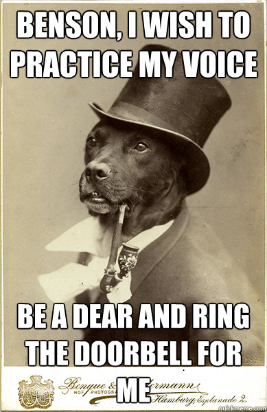 Benson, I wish to practice my voice be a dear and ring the doorbell for me  Old Money Dog