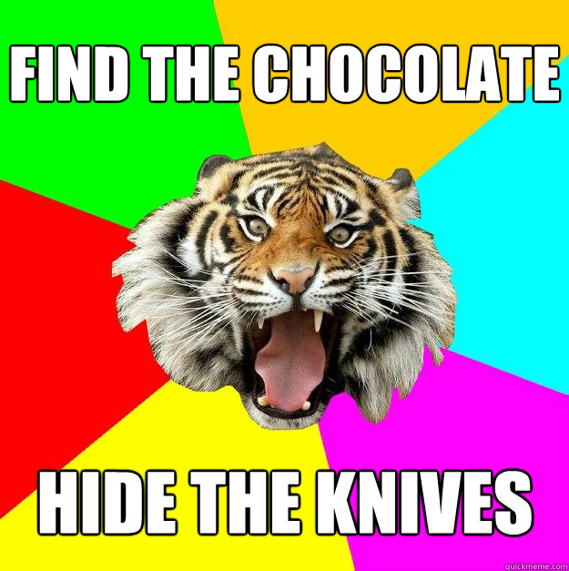 Find the chocolate hide the knives  Time of the Month Tiger