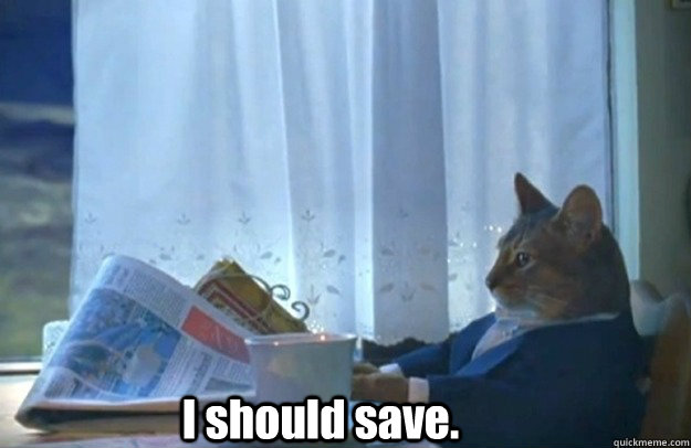 I should save. - I should save.  Sophisticated Cat is broke