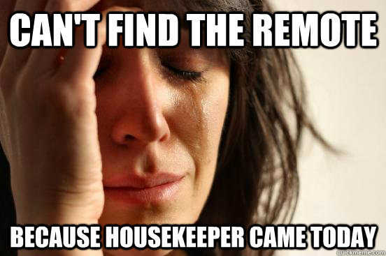 Can't find the Remote because housekeeper came today - Can't find the Remote because housekeeper came today  First World Problems