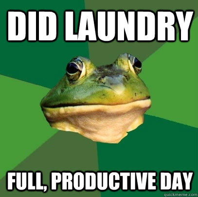 did laundry full, productive day - did laundry full, productive day  Foul Bachelor Frog
