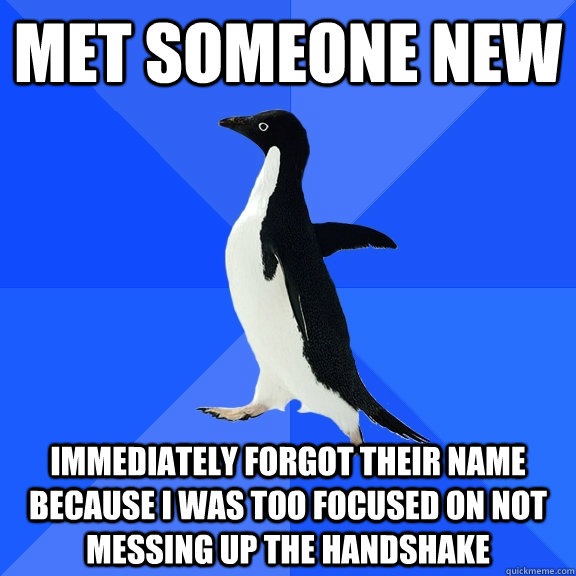 Met Someone New Immediately forgot their name because i was too focused on not messing up the handshake - Met Someone New Immediately forgot their name because i was too focused on not messing up the handshake  Socially Awkward Penguin