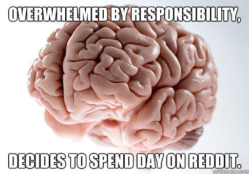 Overwhelmed by responsibility, decides to spend day on reddit. - Overwhelmed by responsibility, decides to spend day on reddit.  Scumbag Brain