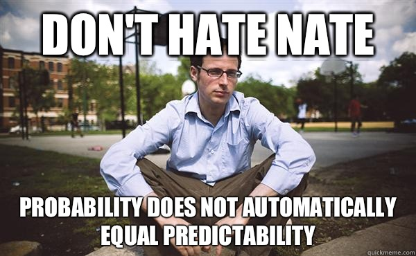 Don't Hate Nate Probability does not automatically equal predictability