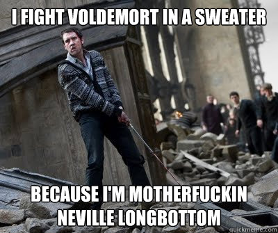 I fight Voldemort in a sweater Because I'm motherfuckin Neville Longbottom  Neville owns