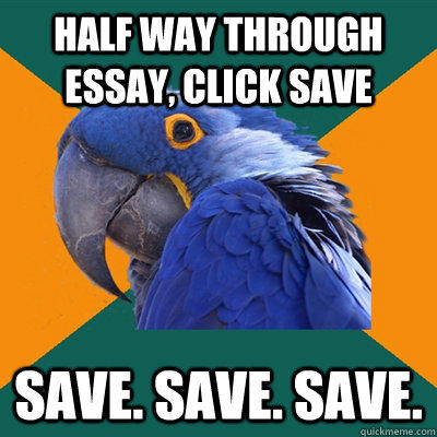 half way through essay, click save save. save. save. - half way through essay, click save save. save. save.  Paranoid Parrot