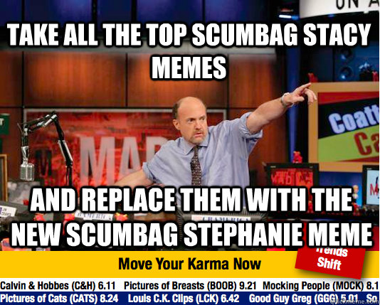 Take all the top Scumbag Stacy Memes and replace them with the new scumbag stephanie meme - Take all the top Scumbag Stacy Memes and replace them with the new scumbag stephanie meme  Mad Karma with Jim Cramer