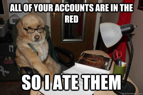 All of your accounts are in the red so I ate them - All of your accounts are in the red so I ate them  Financial Advice Dog