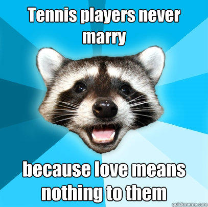 Tennis players never marry because love means nothing to them - Tennis players never marry because love means nothing to them  Lame Pun Coon