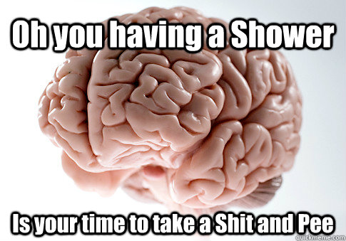 Oh you having a Shower Is your time to take a Shit and Pee  - Oh you having a Shower Is your time to take a Shit and Pee   Scumbag Brain
