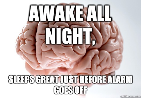 Awake all night, Sleeps great just before alarm goes off - Awake all night, Sleeps great just before alarm goes off  Scumbag Brain