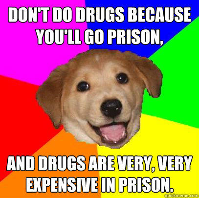 don't do drugs because you'll go prison, and drugs are very, very expensive in prison. - don't do drugs because you'll go prison, and drugs are very, very expensive in prison.  Advice Dog