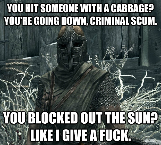 you hit someone with a cabbage? you're going down, criminal scum. you blocked out the sun? Like I give a fuck.  Skyrim Guard