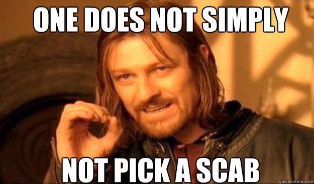 ONE DOES NOT SIMPLY not pick a scab