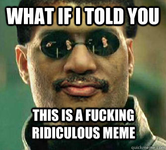What if i told you this is a fucking ridiculous meme