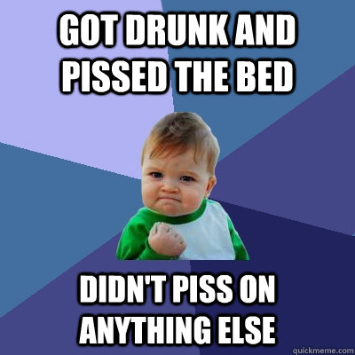 got drunk and Pissed the bed didn't piss on anything else - got drunk and Pissed the bed didn't piss on anything else  Success Kid