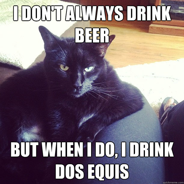 I don't always drink beer But when I do, I drink Dos Equis  Most interesting cat in the world