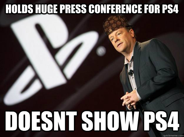 Holds huge press conference for PS4 doesnt show ps4