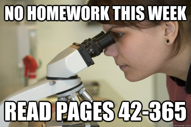 no homework this week read pages 42-365   Biology Major Student