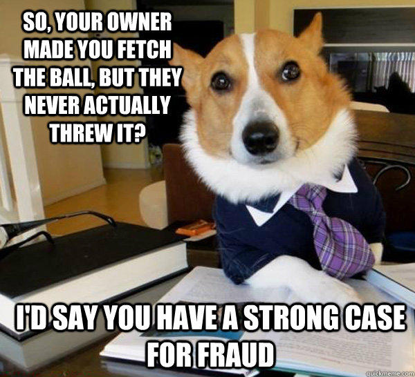 So, your owner made you fetch the ball, but they never actually threw it? I'd say you have a strong case for fraud - So, your owner made you fetch the ball, but they never actually threw it? I'd say you have a strong case for fraud  Lawyer Dog
