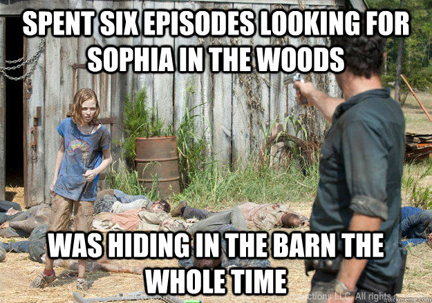 6da1e0227aaf6a575d9dbba80786dd8e930bd5d680fa374102ade8ad779e85ec spent six episodes looking for sophia in the woods was hiding in,Funny Barn Memes