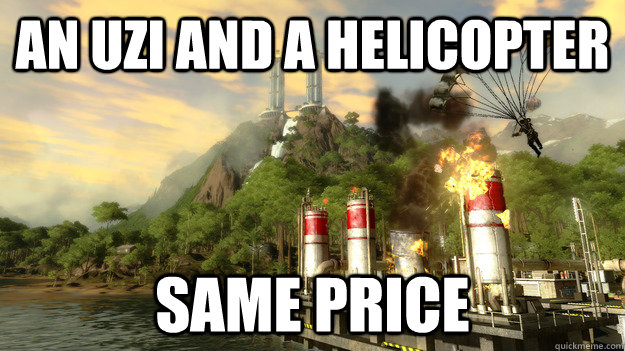 an Uzi and a helicopter Same price